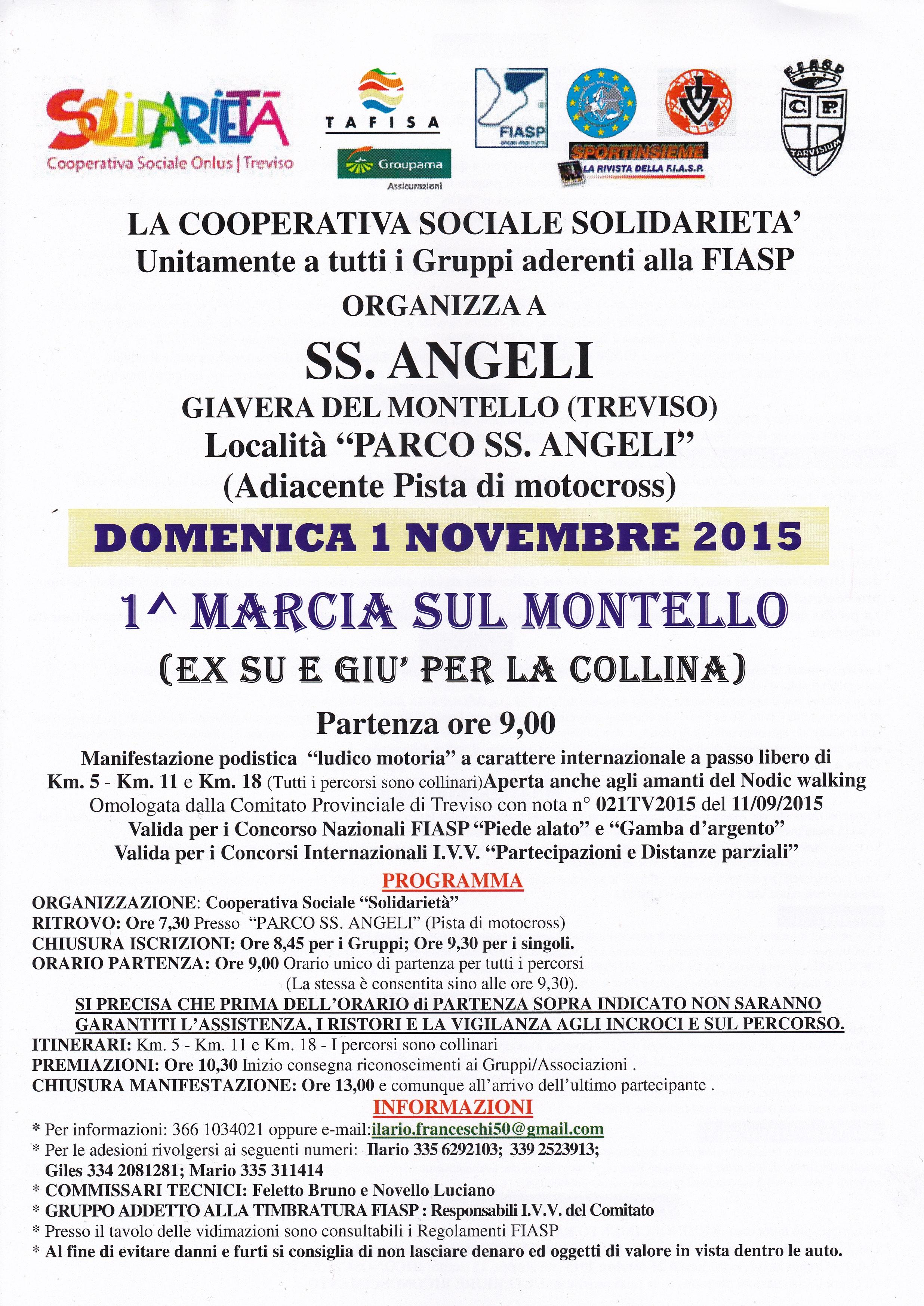 Prima Marcia sul Montello – Domenica 1 Novembre 2015
